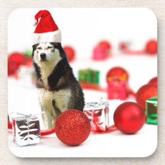 Siberian Husky Christmas with Ornament  Gift Box Drink Coaster