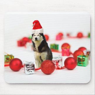 Siberian Husky Christmas with Ornament Gift Box Mouse Pad