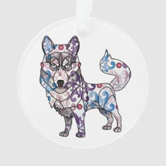 Siberian Husky Circle Ornament
