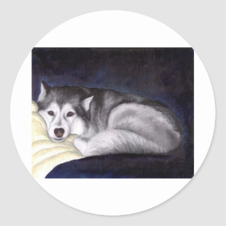 Siberian Husky Classic Round Sticker
