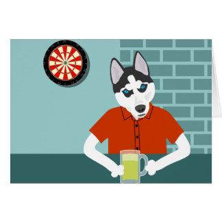 Siberian Husky Dartboard Beer Bar Card