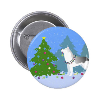 Siberian Husky Decorating Christmas Tree -Forest Button