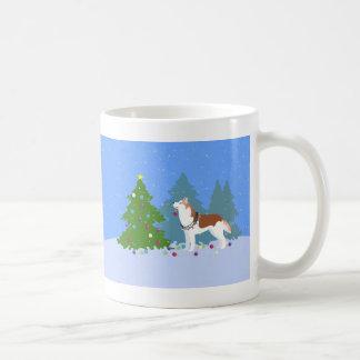 Siberian Husky Decorating Christmas Tree -Forest Coffee Mug