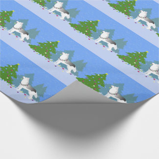 Siberian Husky Decorating Christmas Tree -Forest Wrapping Paper