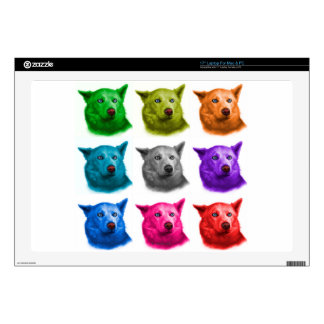"Siberian Husky dog art 2103 WB Decal For 17"" Laptop"