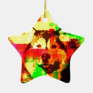 Siberian Husky Dog Art Ceramic Ornament