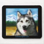 Siberian Husky Dog Art - Solar Mouse Pad