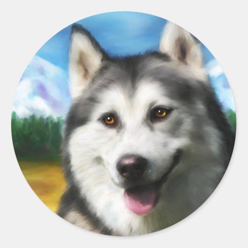 Siberian Husky Dog Art - Solar Round Sticker