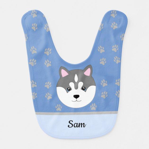 Siberian Husky Dog Blue And Gray Baby Bib Zazzle Com