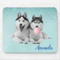 Siberian Husky Dog Blue Bubble Gum Mouse Pad