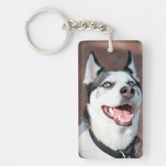 Siberian Husky dog blue eyes Single-Sided Rectangular Acrylic Keychain