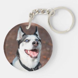 Siberian Husky dog blue eyes Double-Sided Round Acrylic Keychain