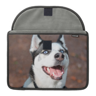 Siberian Husky dog blue eyes MacBook Pro Sleeves