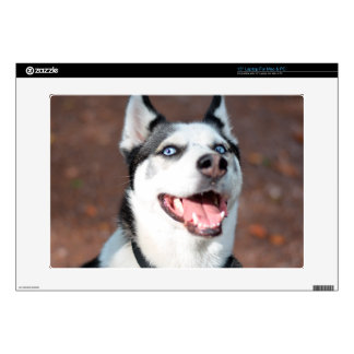 "Siberian Husky dog blue eyes Decals For 15"" Laptops"