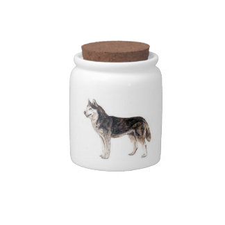 Siberian Husky Dog Candy Jar