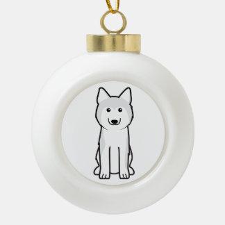 Siberian Husky Dog Cartoon Ceramic Ball Christmas Ornament