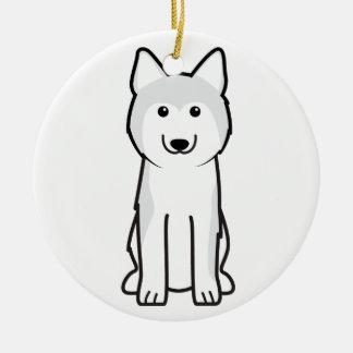 Siberian Husky Dog Cartoon Double-Sided Ceramic Round Christmas Ornament