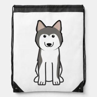 Siberian Husky Dog Cartoon Drawstring Bag