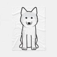 Siberian Husky Dog Cartoon Fleece Blanket