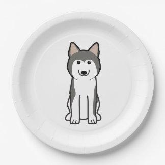 Siberian Husky Dog Cartoon Paper Plate