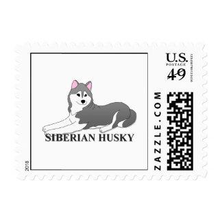 Siberian Husky Dog Cartoon Stamp