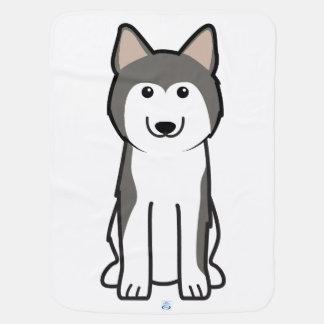Siberian Husky Dog Cartoon Receiving Blanket