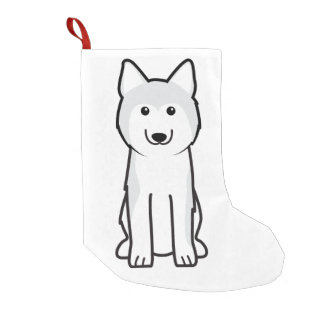 Siberian Husky Dog Cartoon Small Christmas Stocking