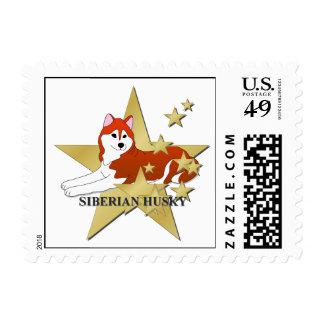 Siberian Husky Dog Cartoon Stars Postage Stamp