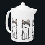 "Siberian Husky Dog Cartoon Teapot<br><div class=""desc"">Siberian Husky. Design by DogBreedCartoon</div>"