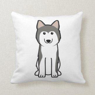 Siberian Husky Dog Cartoon Throw Pillow