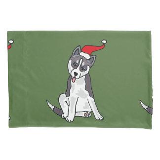 Siberian Husky Dog Christmas Art Pillow Case