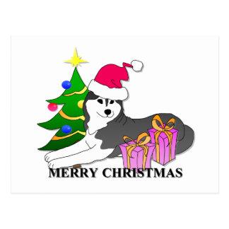 Siberian Husky Dog Christmas Postcard