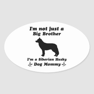 siberian husky Dog Designs Oval Sticker