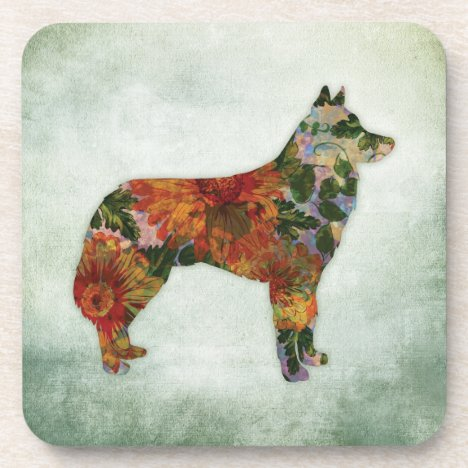 Siberian Husky Dog Floral On Green Beverage Coaster