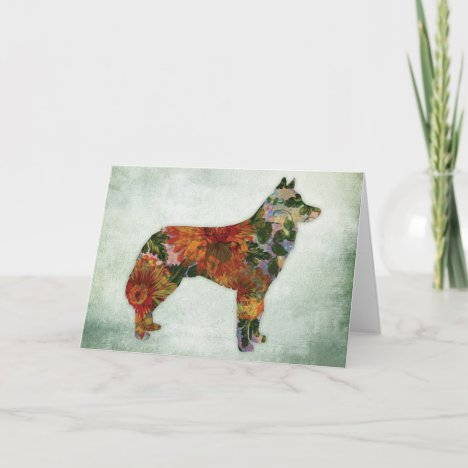 Siberian Husky Dog Floral On Green Card