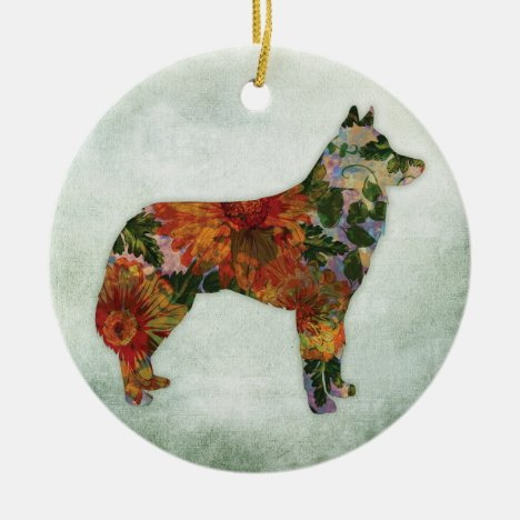 Siberian Husky Dog Floral On Green Ceramic Ornament