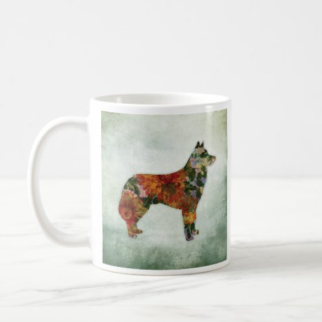 Siberian Husky Dog Floral On Green Coffee Mug