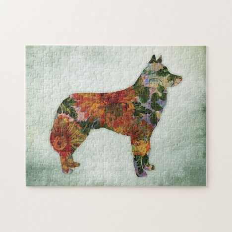 Siberian Husky Dog Floral On Green Jigsaw Puzzle