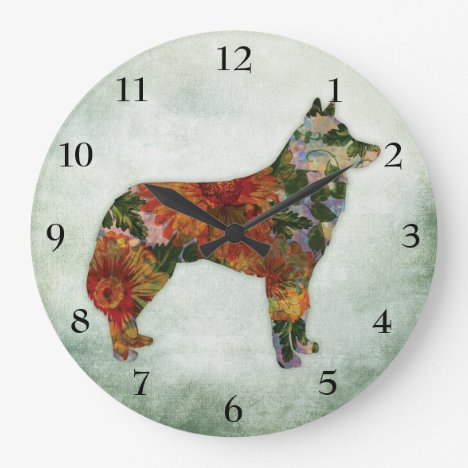 Siberian Husky Dog Floral On Green Large Clock