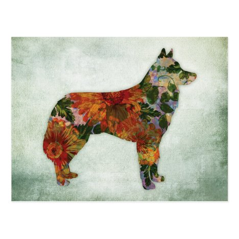 Siberian Husky Dog Floral On Green Postcard