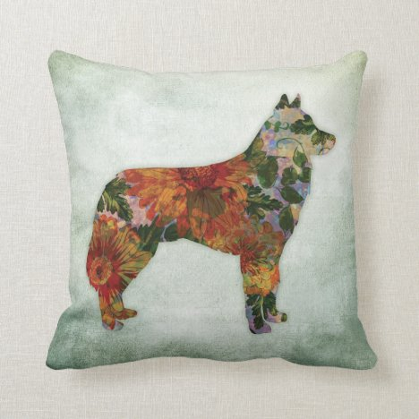 Siberian Husky Dog Floral On Green Throw Pillow