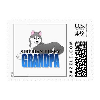 Siberian Husky Dog Grandpa Postage Stamp