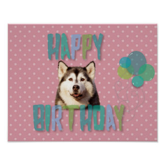 Siberian Husky Dog Happy Birthday Poster
