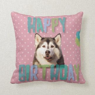 Siberian Husky Dog Happy Birthday Throw Pillow