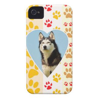 Siberian Husky Dog Heart Paws Print Case-Mate iPhone 4 Case