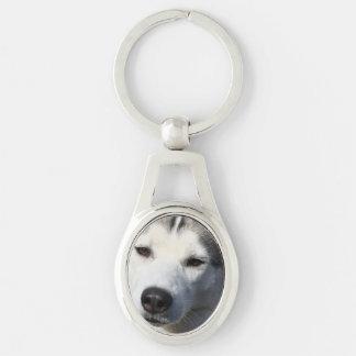 Siberian Husky Dog Photo Keychain