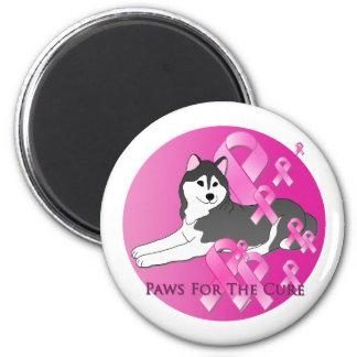 Siberian Husky Dog Pink Ribbon Refrigerator Magnet