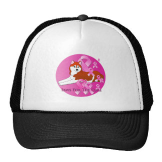 Siberian Husky Dog Pink Ribbon Trucker Hat
