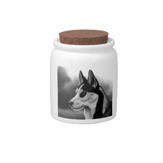 Siberian Husky Dog Portrait Digital Art Candy Jar