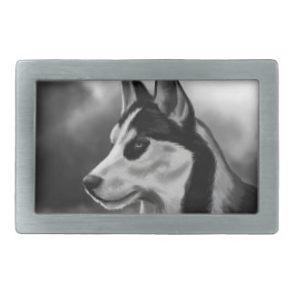 Siberian Husky Dog Portrait Digital Art Rectangular Belt Buckle